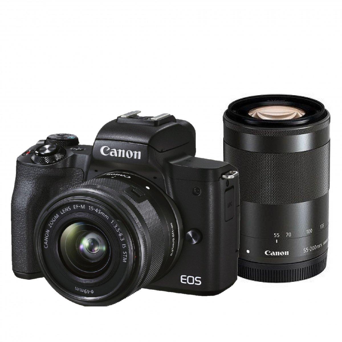 キャノン ミラーレス一眼カメラ EOS Kiss M2 ダブルズームキット 15-45mm/55-200mm