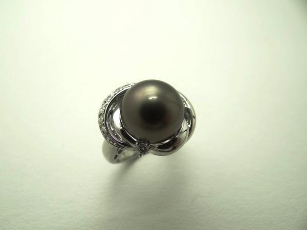 Ptブラックパール/黒真珠R/指輪12mm珠