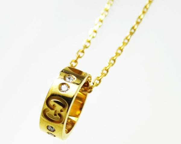 K18PGグッチ ネックレス ダイヤ ハート